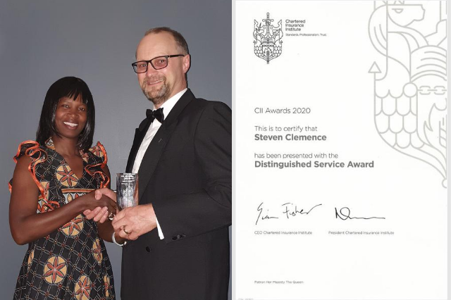 Steven Clemence receives the Chartered Insurance Institute 2020 Distinguished Award