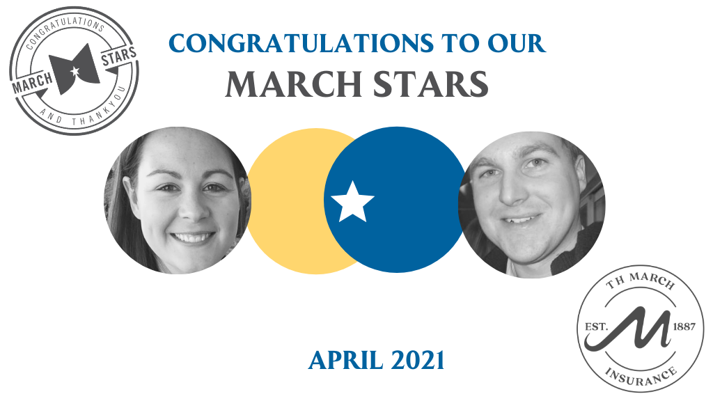 Congratulations to our March Star Winners for April