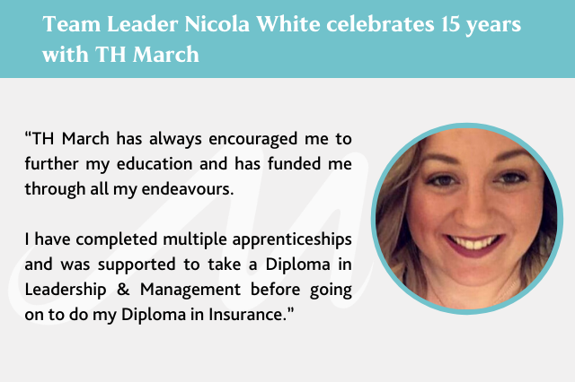 Team Leader Nicola White celebrates 15 years with TH March