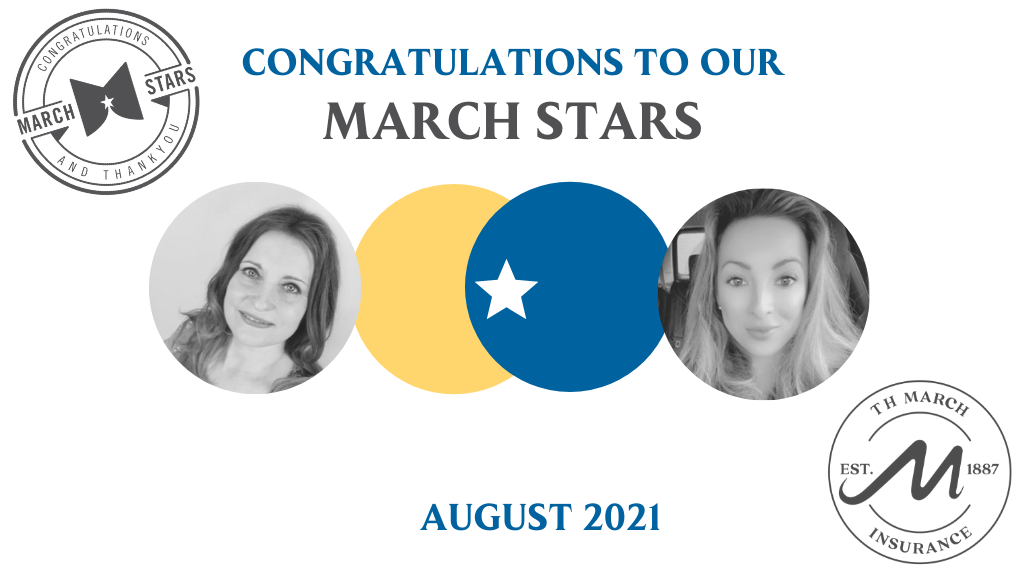 Congratulations to our March Star Winners for August