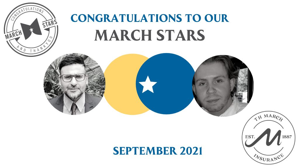 Congratulations to our March Star Winners for September